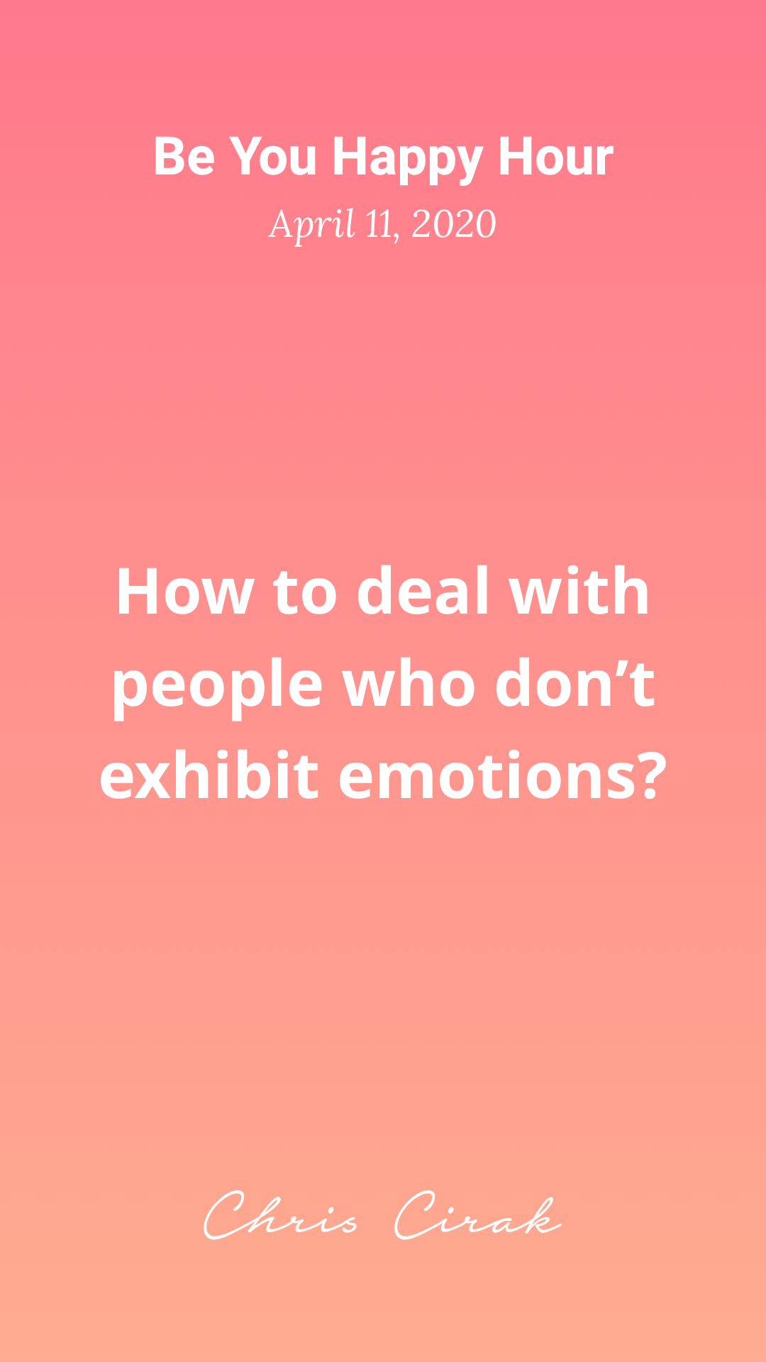 How to deal with people who don't exhibit emotions?